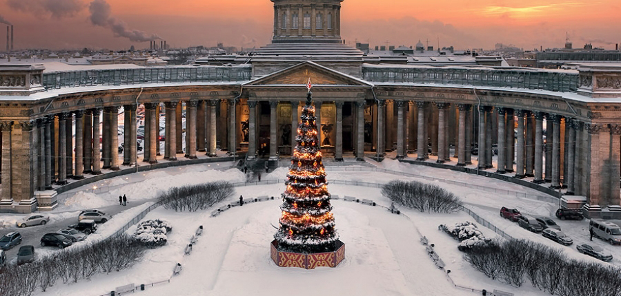 Neujahr 2018 in St. Petersburg (Russland)